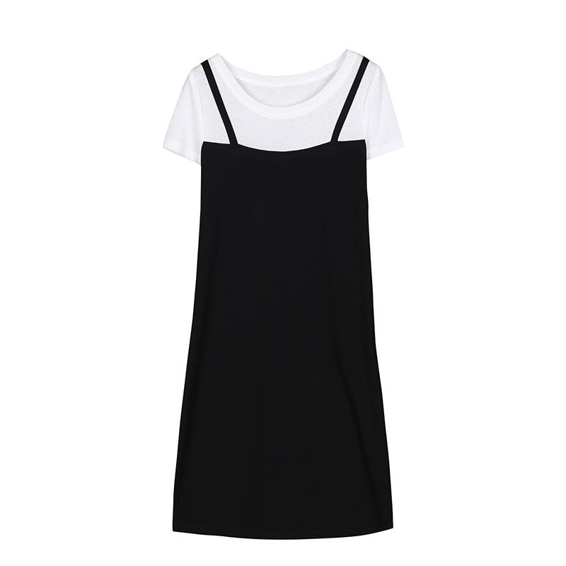 夏装假两件套短袖连衣裙女韩版中长款显瘦背带裙气质时髦吊带裙子