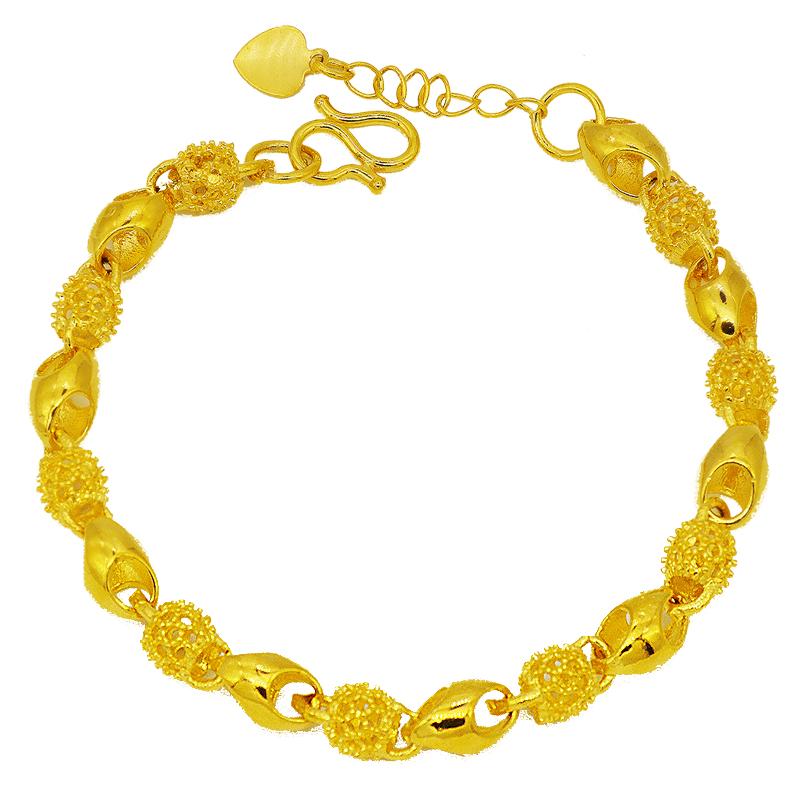 越南沙金手链女纯金色假黄金正品久不掉色时尚首饰泰国  送戒指