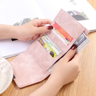 新款韩版女式短款钱包磨砂皮钱包ins潮女士零钱包薄款迷你小钱包