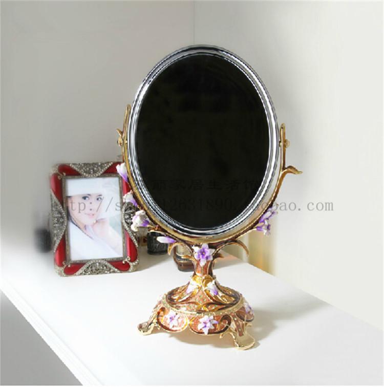 百合花座镜 梳妆镜凹凸镜 珐琅彩工艺镜子 罗比罗丹正品 家居用品