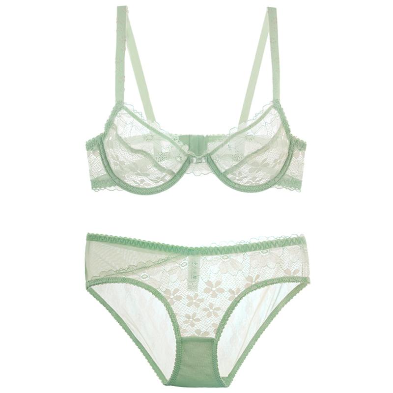 【青仓】性感超薄透明诱惑蕾丝内衣文胸套装薄荷绿胸罩无海绵Bra