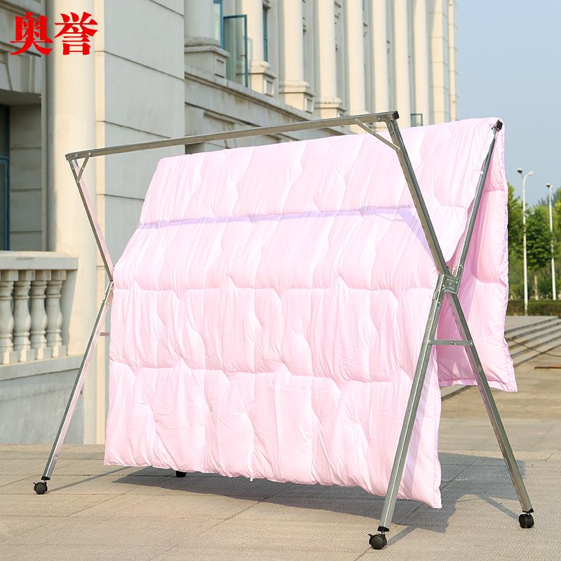 晾衣架落地折叠卧室内伸缩晾衣杆晒被子神器阳台简易凉挂衣双杆式