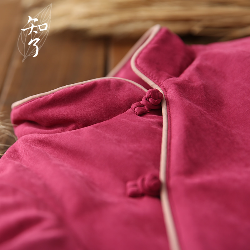 知了童装 2019秋冬装女童加厚中长款中式棉衣棉袄棉服外套 K1378