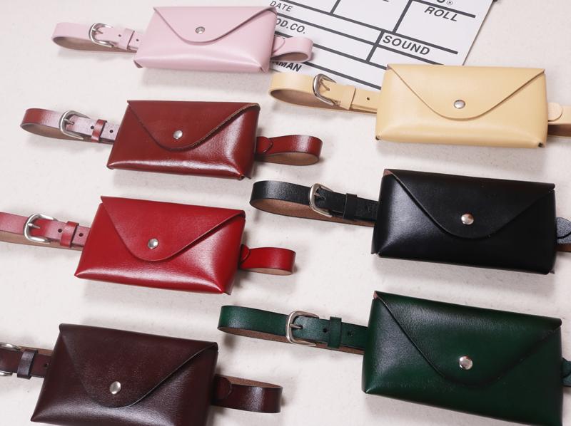韩版时尚潮流真皮牛皮信封包单扣手机零钱腰包小包多色百