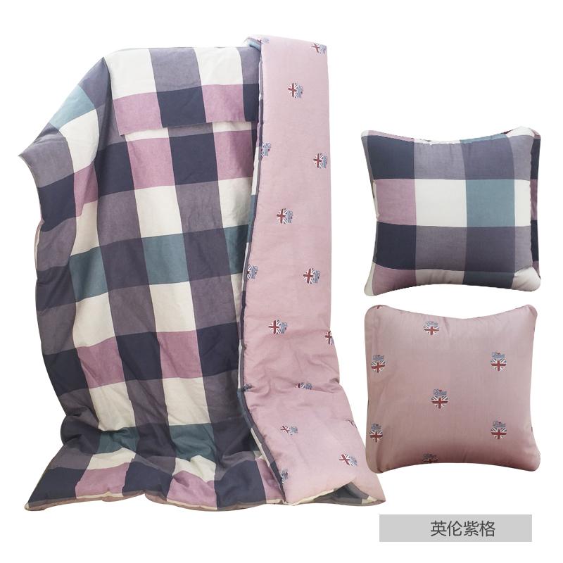 純棉抱枕被加大午睡被汽車兩用靠墊薄被全棉空調小被子多功能蓋毯