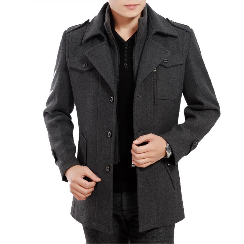 男士风衣男呢子尼外套大衣修身中年春秋羊毛呢中长款 天天特价