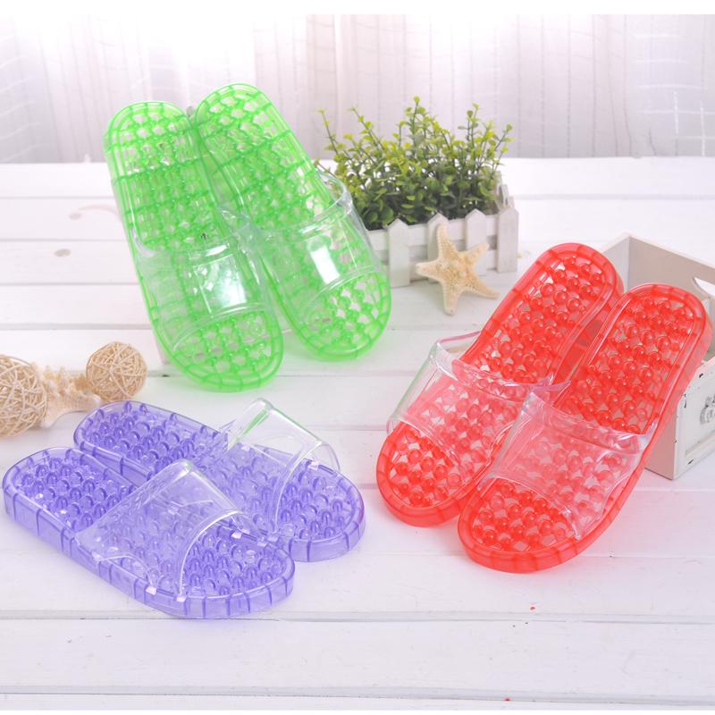 浴室拖鞋女夏天情侶居家室內防滑漏水洗澡塑料按摩水晶拖鞋男夏季