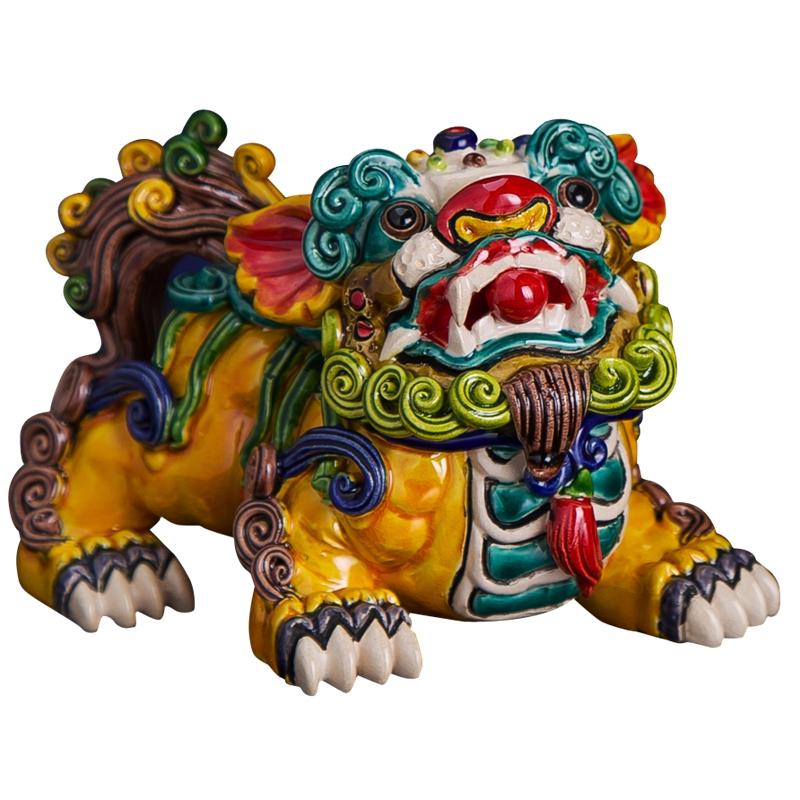 客厅陶瓷艺术品摆件纯手工交趾陶彩陶镇宅僻邪貔貅对狮子开业送礼