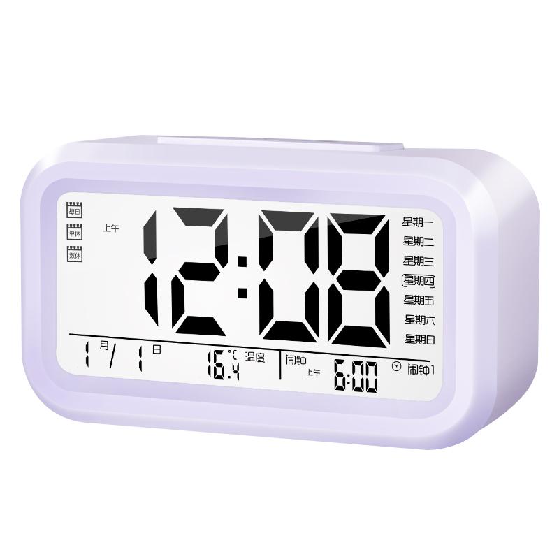 可充电款闹钟学生用电子多功能夜光静音床头儿童闹铃小智能时钟表