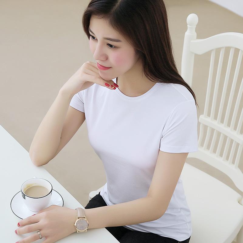夏装半袖新款莫代尔棉短袖t恤女纯色上衣大码女装白色体恤打底衫