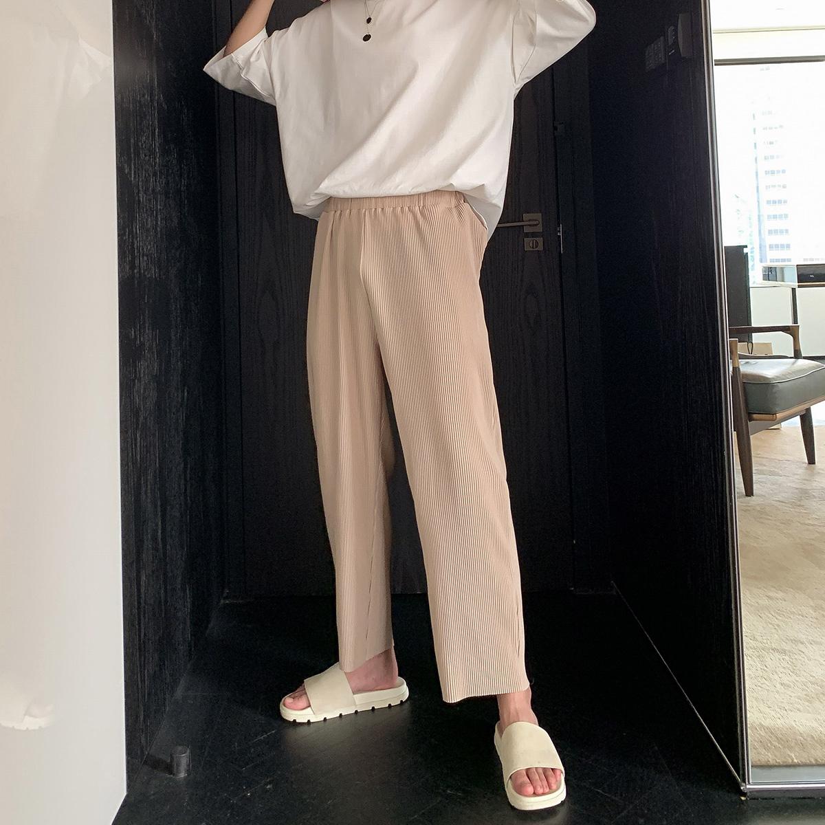 西西里男装男士薄款针织休闲裤子男韩版九分宽松直筒垂感