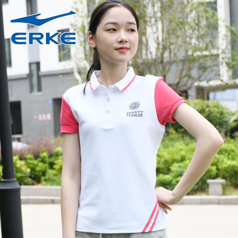 鸿星尔克微领T恤短袖女夏季修身百搭透气POLO衫女装运动休闲上衣