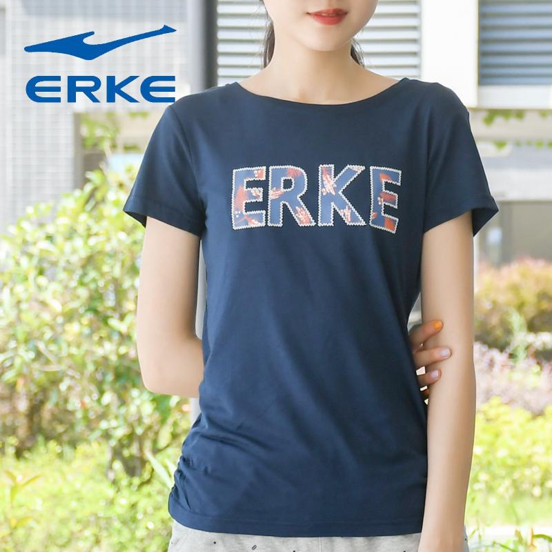 鸿星尔克女士圆领短袖夏季透气百搭T恤正品时尚字母运动上衣女装