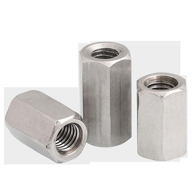 304不锈钢六角加长螺母牙条丝杆连接螺丝帽圆形螺母柱5M6M8M10M12