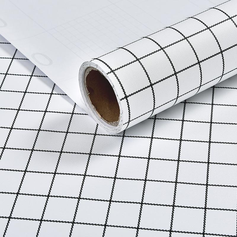 风黑白格子开学必备寝室墙纸大学宿舍墙面翻新背带胶壁纸 ins 北欧