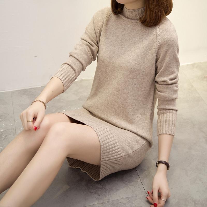 春季打底中长款毛衣套头内搭宽松针织衫半高领连衣裙韩版外套女装