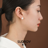 Sujue 18K Gold Jewelry Freshwater Pearl Earrings Female Simple Temperament Earring Earrings for Mom Birthday Gift