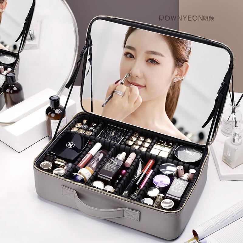 朗颜2020新款超火化妆包带镜子女便携专业大容量多功能收纳箱旅行