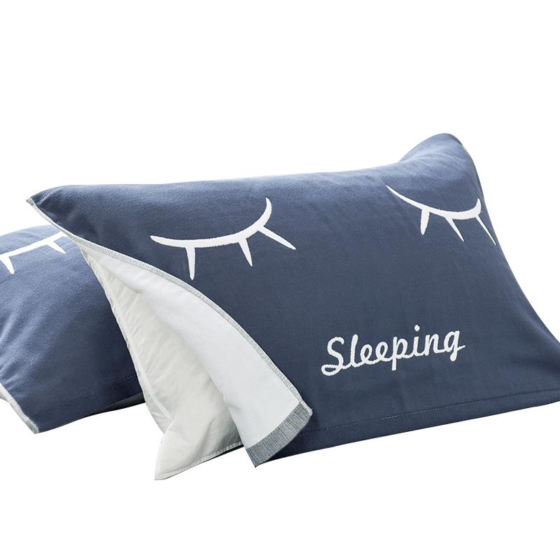 毛毛雨枕头枕巾纯棉一对装情侣高档简约北欧全棉欧式儿童单人枕头
