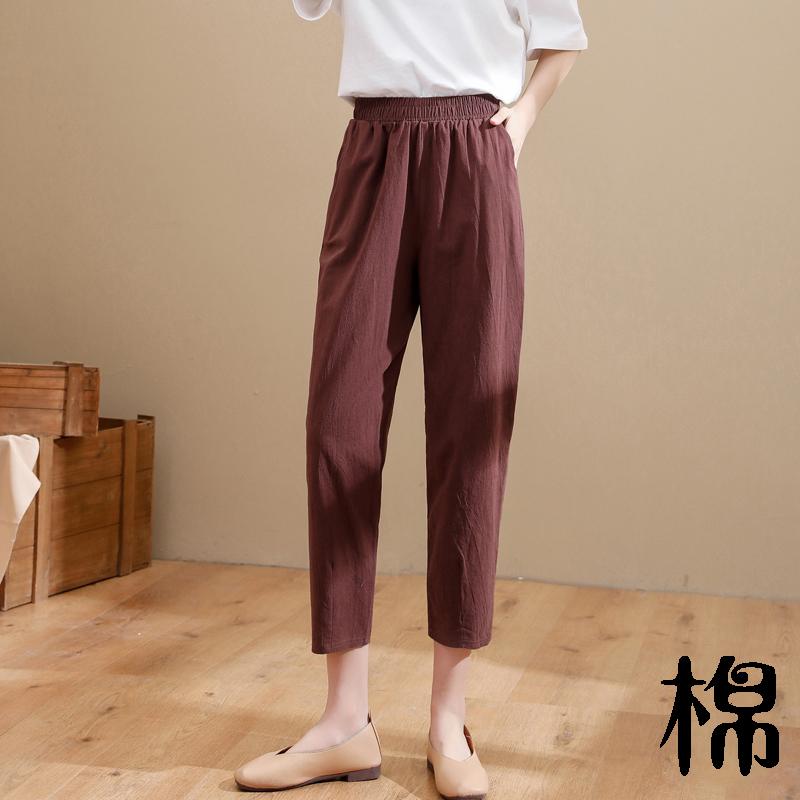 棉麻裤子女夏季薄款宽松大码九分妈妈裤白色萝卜裤显瘦哈伦休闲裤
