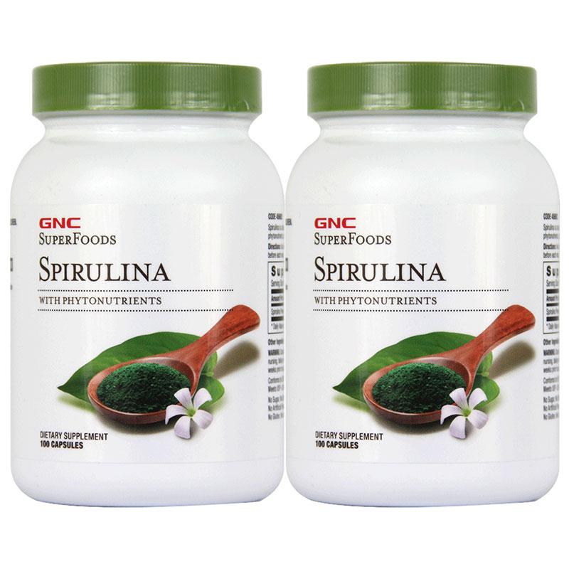 2瓶美国GNC健安喜螺旋藻胶囊500mg100粒清肠排毒增强免疫力正品片