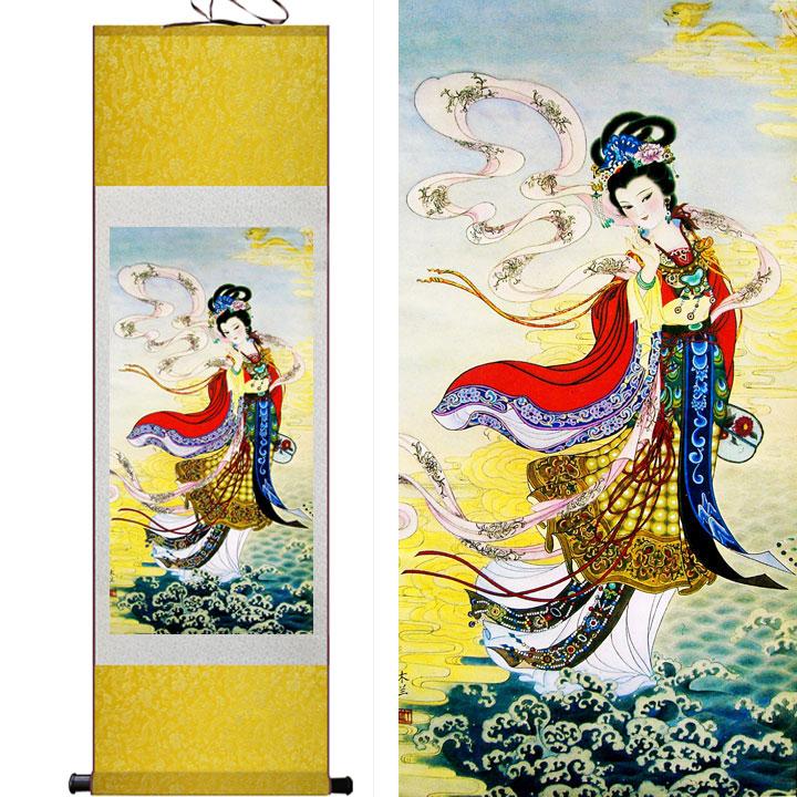 仙女 絲綢國畫人物畫卷軸畫酒店包廂壁畫掛畫裝飾掛畫古典仕女圖