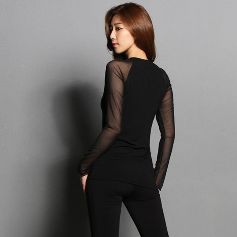 春秋瑜伽服女士高弹紧身长袖修身专业运动上衣透视性感普拉提上衣