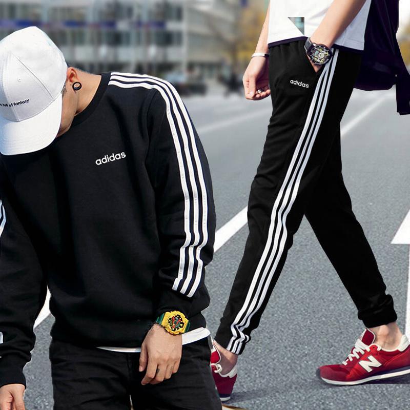 阿迪达斯运动套装男潮2020夏季新款卫衣外套运动服长裤子收口卫裤