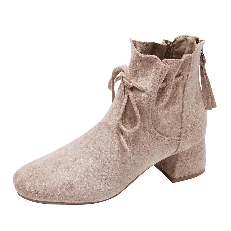 初秋小短靴女 年新款秋季粗跟瘦瘦春秋单靴高跟鞋秋款马丁靴子  2019