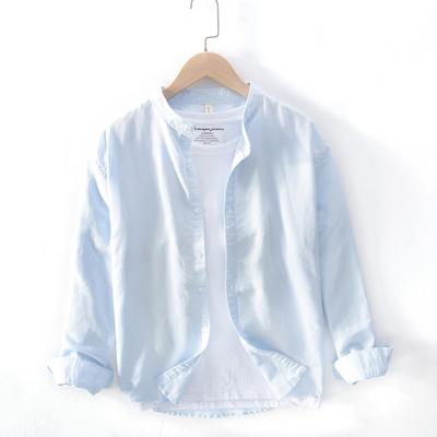 蜗牛与黄鹂鸟张新成李臻言同款同款青少年立领衬衣服休闲纯色衬衫