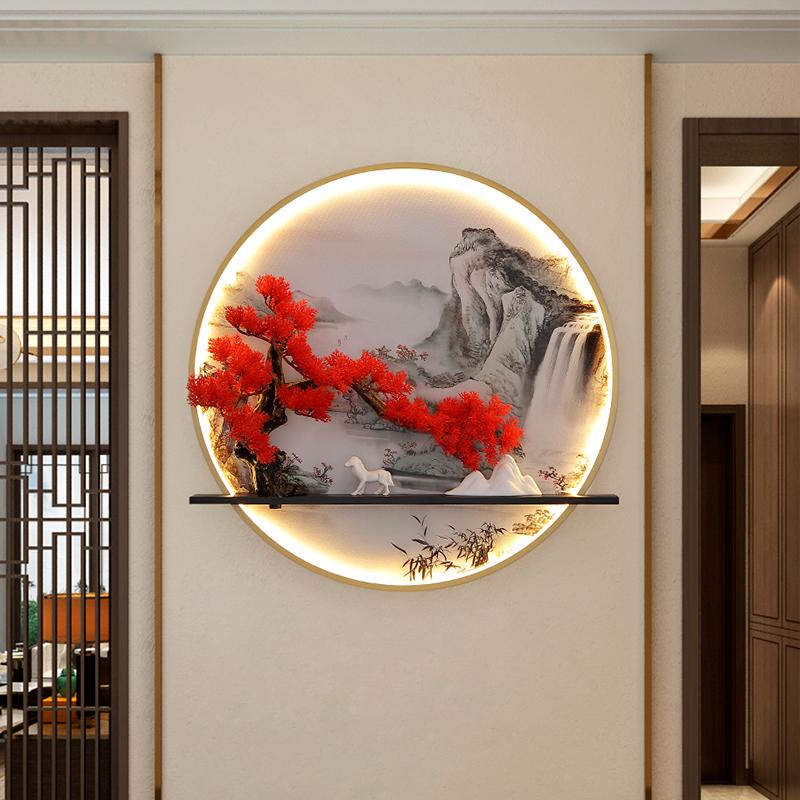 新中式壁画灯创意个姓茶室圆形楼梯装饰挂画带灯玄关入户禅意灯具