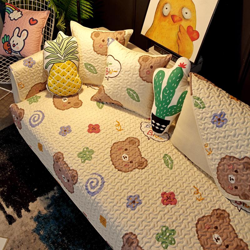 布艺全棉沙发垫沙发巾盖布套罩防滑四季通用坐垫可爱简约北欧高档