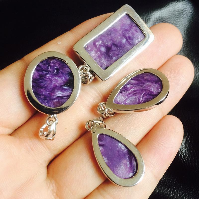 紫龙晶吊坠天然水晶项链925银镶嵌查罗石女款珠宝首饰夏季首饰品