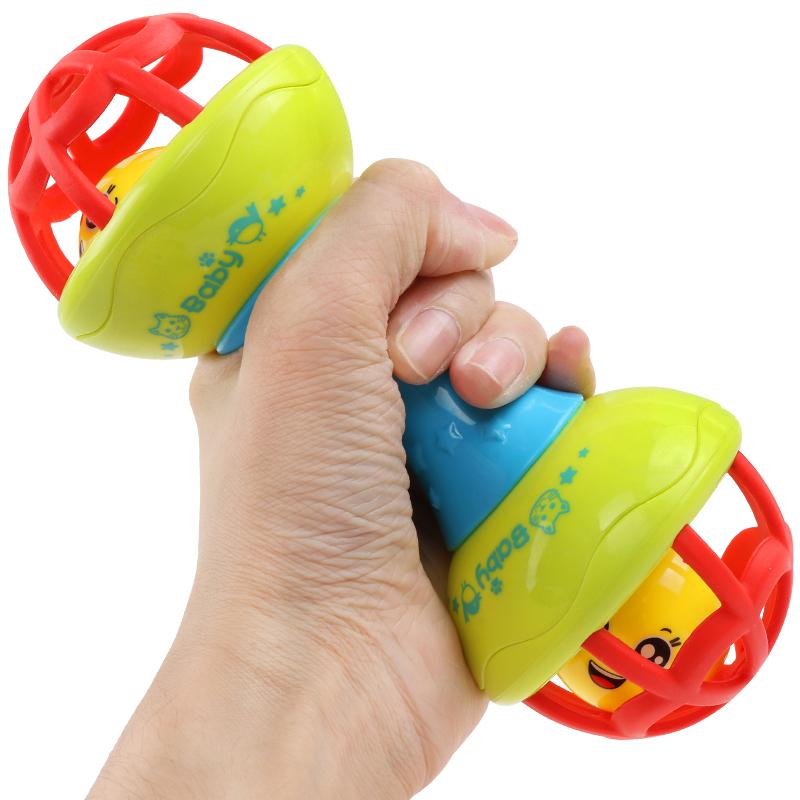 益智逗逗乐软牙胶健身球幼儿球形摇铃哑铃宝宝学爬玩具婴儿磨牙球
