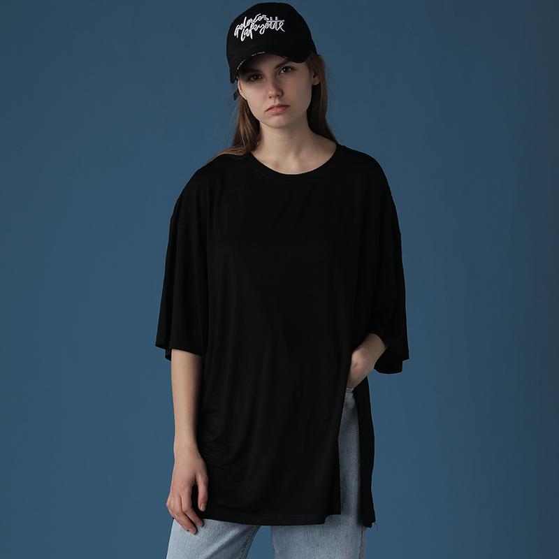 2020新款黑色T恤女宽松中长款下摆开叉御姐上衣轻熟风短袖ins潮夏【图2】