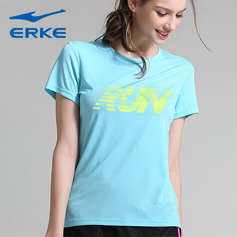 鸿星尔克t恤女短袖夏装圆领修身运动T恤女士休闲上衣女装半袖衫