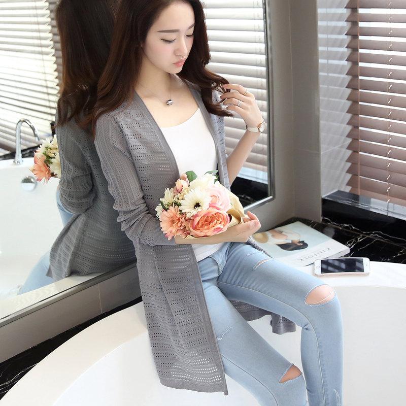 2019春秋季新款韩版空调衫针织薄外搭中长款开衫外套防晒衫披肩女