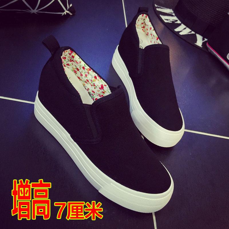新款厚底帆布鞋女一腳蹬懶人鞋女內增高小白鞋女百搭布鞋黑色女鞋