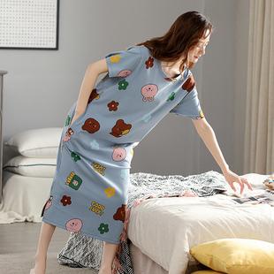 睡裙女夏季纯棉短袖韩版宽松大码孕妇全棉家居服长款过膝春秋睡衣