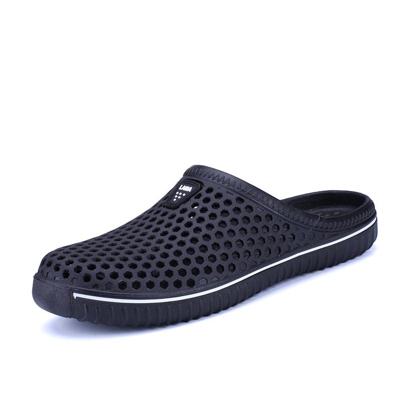 夏季情侣透气半托个性包头凉鞋洞洞鞋男网面沙滩鞋懒人鸟巢拖鞋