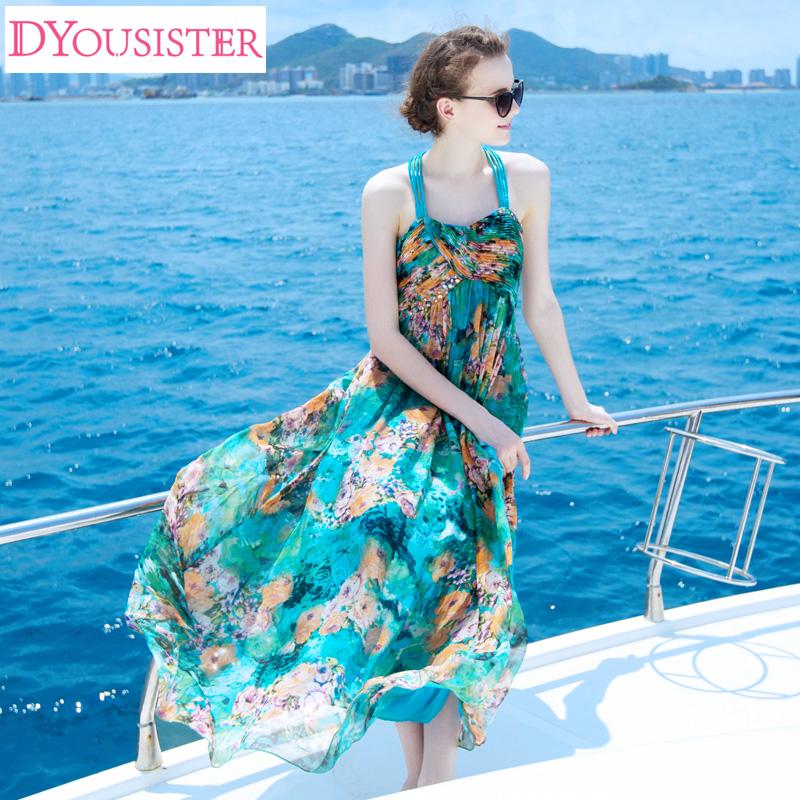 dyousister海滩裙女神波西米亚真丝桑蚕丝海边度假长连衣裙沙滩裙