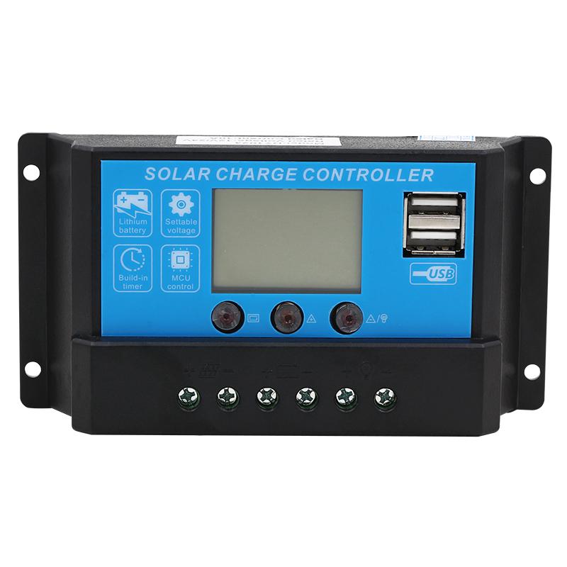 太阳能控制器10a30a12V/24V支持锂电池USB太阳能电池板路灯控制器