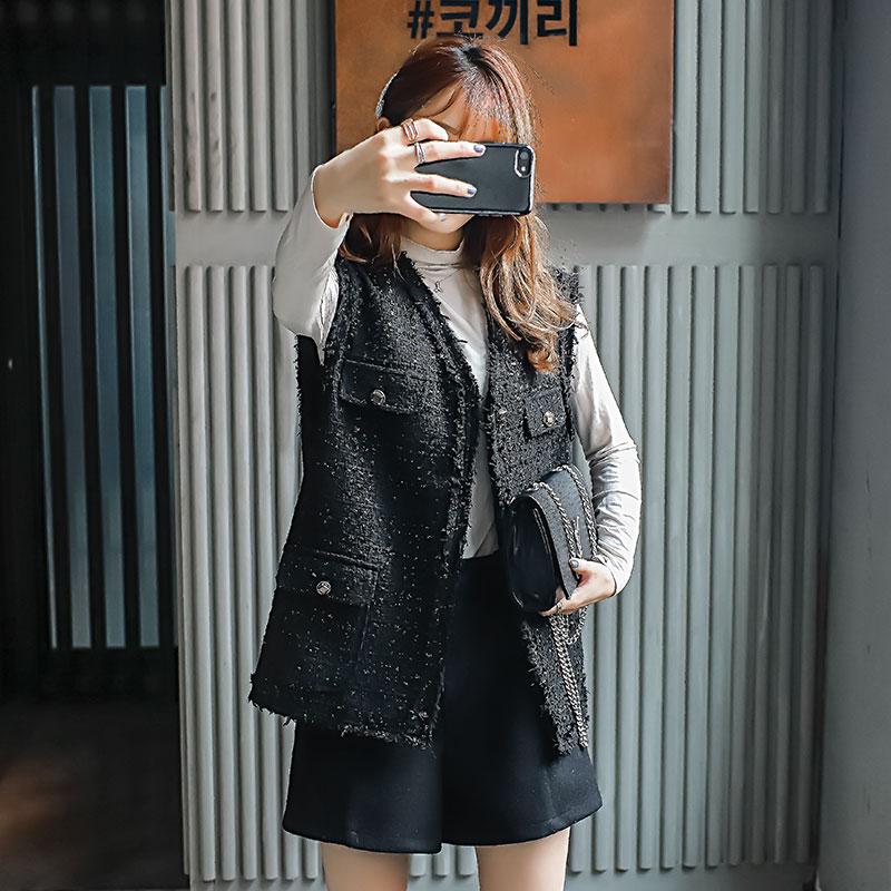 小香风休闲马甲女黑色外套短款坎肩马夹外套背心上衣2020新款秋季