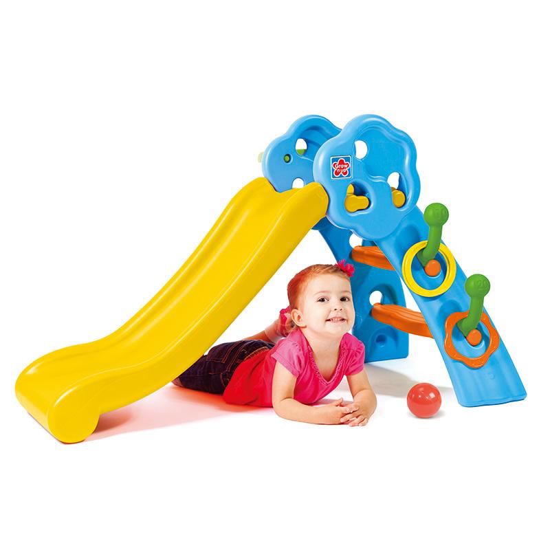 高思维儿童滑梯室内家用小孩宝宝多功能折叠塑料小滑滑梯带篮球架