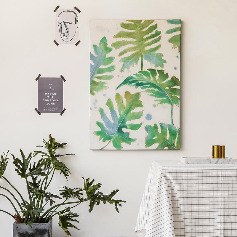 DUDUO都多|純手繪植物油畫 客廳手繪裝飾畫 玄關走廊豎版掛畫壁畫