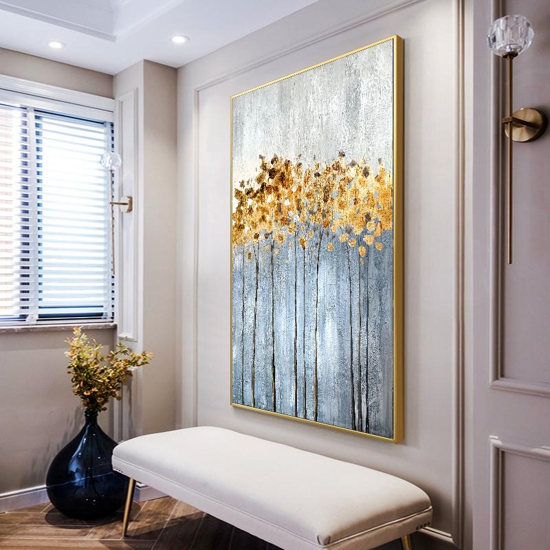 78九 现代简约抽象玄关装饰画过道走廊竖版挂画纯手工抽象油彩画