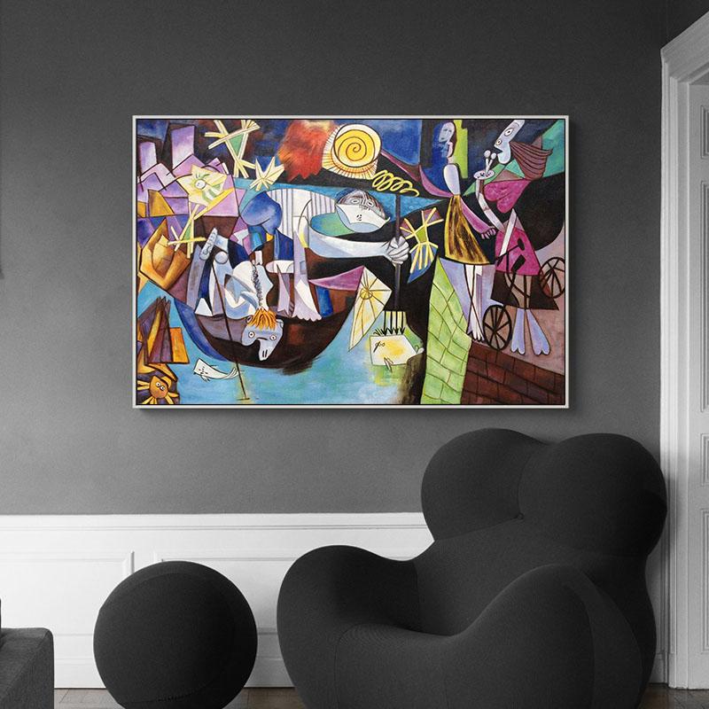78九 毕加索名画安提布夜间垂钓 简美客厅手绘油画别墅酒店抽象画