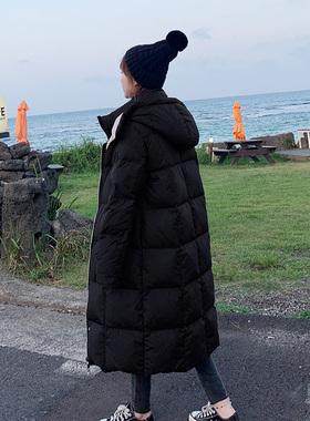 羽绒服女中长款2020新款冬装双面长过膝白鸭绒冬天加厚外套两面穿