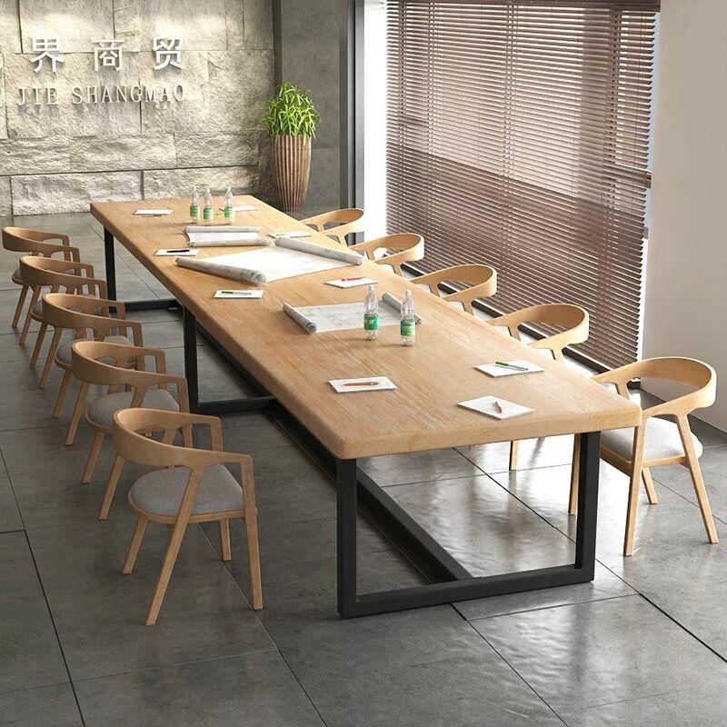 loft工业风实木会议桌长桌简约长条桌工作台复古铁艺办公桌电脑桌