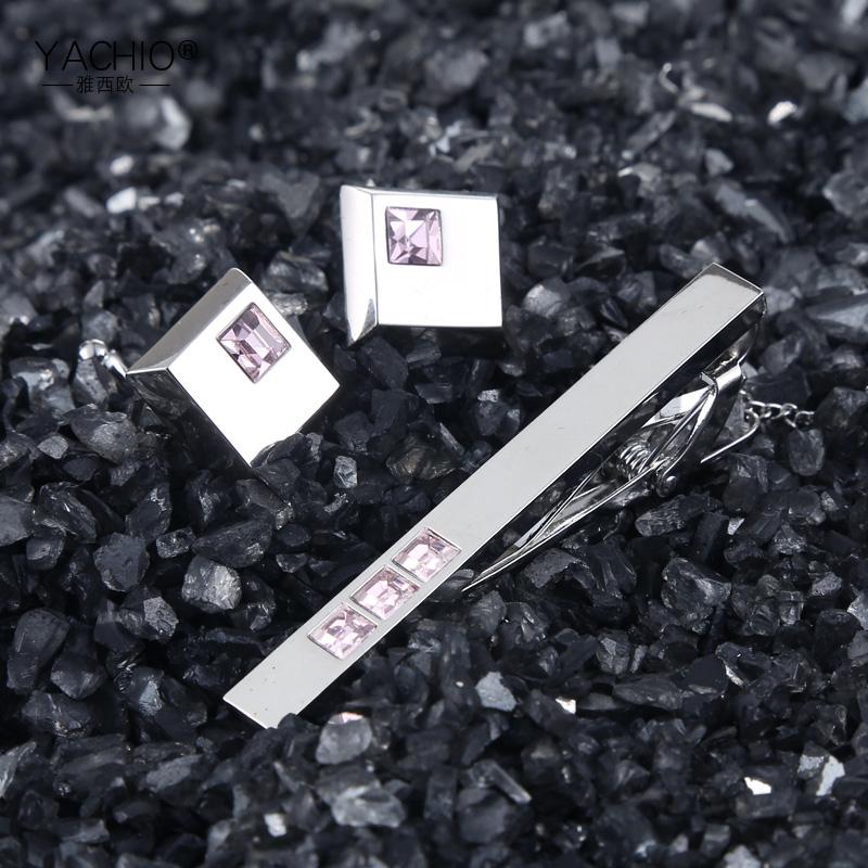雅西欧男士职业套装领带夹袖扣定制银色送男生礼物礼盒装礼品包邮